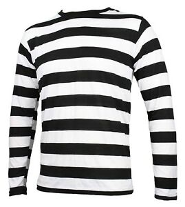 NYC-Long-Sleeve-PUNK-GOTH-Pierrot-Mime-Stripe-Striped-Shirt-Black-White-S-M-L-XL