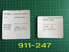 PORSCHE 911 993 964 968 VIN dati COFANO HOOD Maintenance Book ETICHETTE ADESIVI
