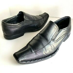 Guess Mens 10 M 43 EUR Dress Shoes Loafers Black Leather Square Toe Work | eBay