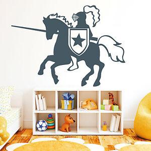 11047 wandtattoo pferd ritter lanze reiter kinderzimmer comic sticker aufkleber ebay - Wandtattoo pferd kinderzimmer ...