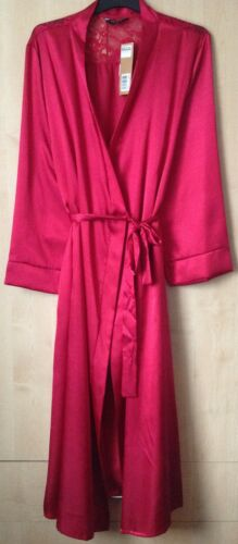 Ladies Various Colours Long Satin /& Lace Dressing Gown//Robe Uk Sizes 10-32