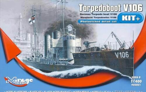Ätzteile Decals 1:400 Modell-Bausatz V 106 kit Mirage V106 Torpedoboot 1914