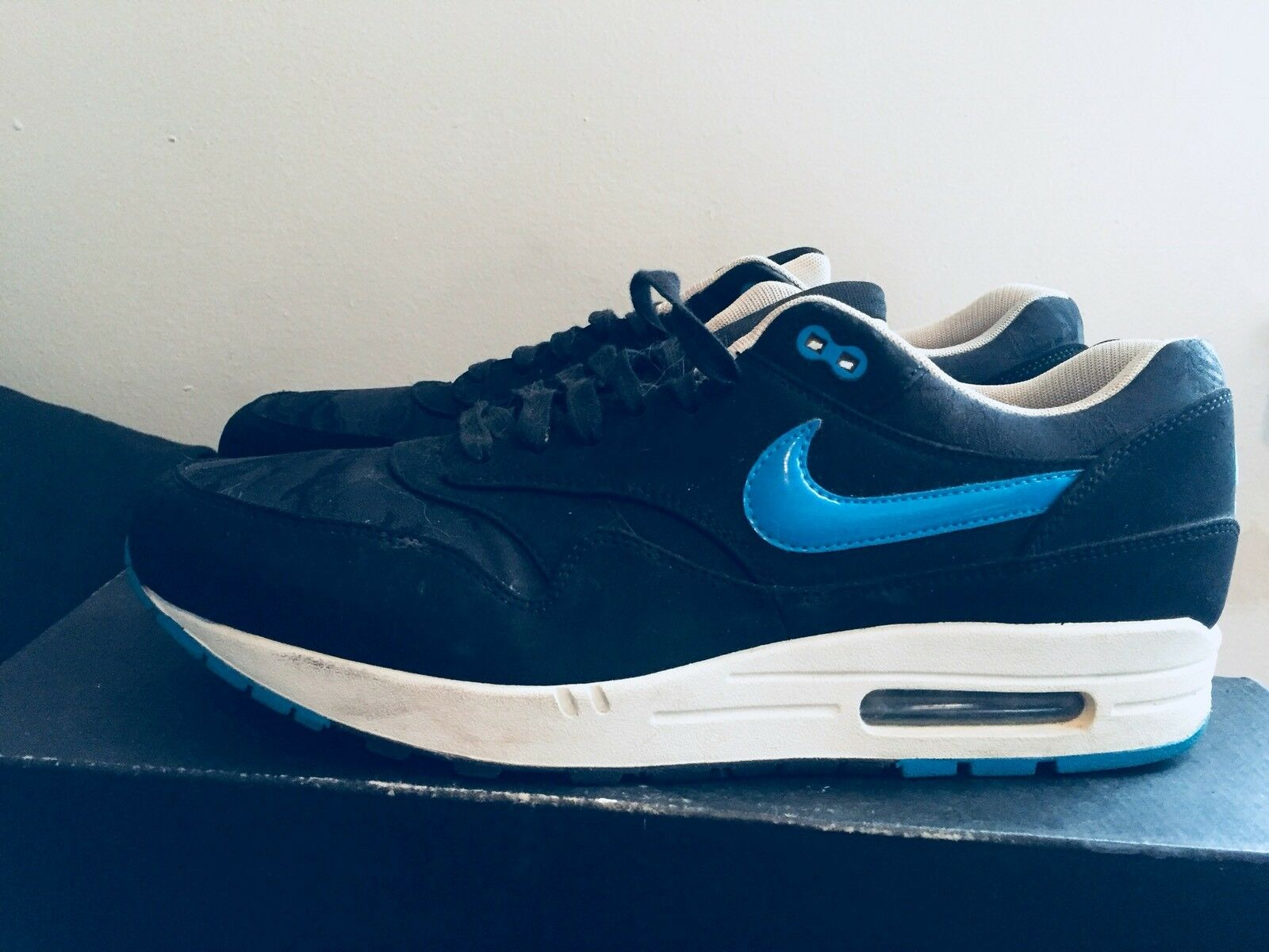 2013 Mens Nike Air Max One PRM Jacquard Camp Black bluee Size 13 Used Rare DS