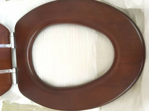 NATURAL CHERRY Porcher 71115-00.670 Elongated Wood Toilet Seat with BN Hinges