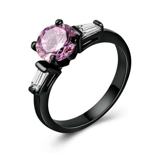 Elegant 14kt Black Gold Filled Fashion Women Jewelry Wedding Ring Size 6-10