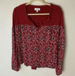 Lucky-Brand-Women-039-s-Top-Size-Small-Long-Sleeves-Casual-Red-Pink-Gray-Black-White