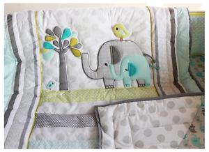 7pcs Nursery Home Crib Bedding Set Unsex Baby Elephant