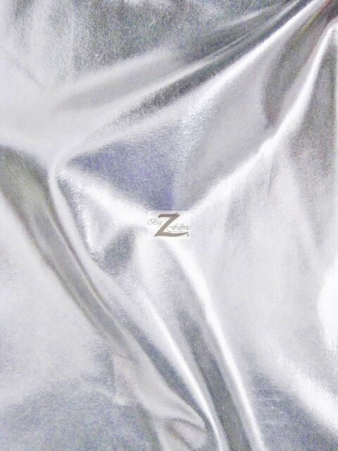 "METALLIC FOIL SPANDEX FABRIC - Silver - 2 WAY STRETCH LYCRA 58""/60"" SOLD BTY"