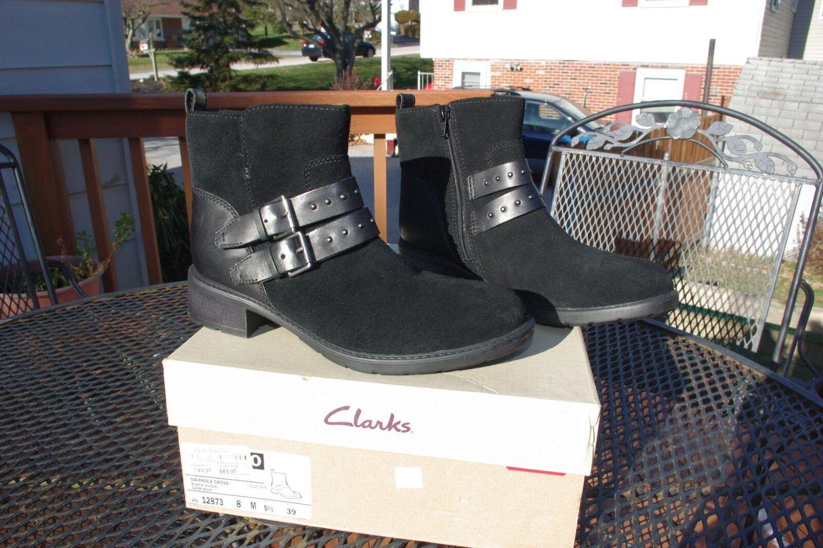 NIB Clark's Ladies Swansea Grove Black Leather & Suede Ankle Boots Booties 8 M