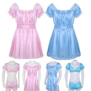 2f35a43e4e373 GAY Male Sleepwear Crossdress Underwear Sexy Men Lingerie Satin ...