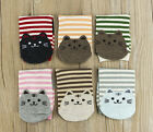 6Pairs Women Cute 3D Cartoon Animal Striped Socks Cat Footprints Cotton