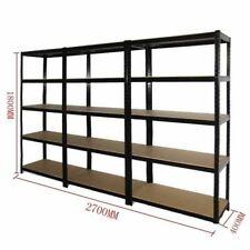 3x 0.9M Black Steel Warehouse Racking Rack Storage Garage Shelving Shelf Shelves