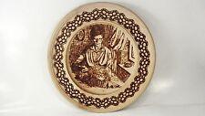 """Vzgane Vžgane slike - Image Burned wood  wall Plate - Woman working  - 9"""""""
