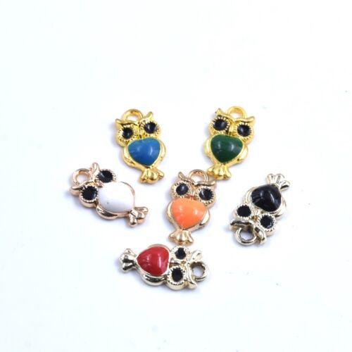 12PC Mixed Color Cartoon Little Owl Bird Charm Pendant For Earrings//Bracelet