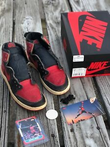 f7bb70ec82c7 1985 Nike Air Jordan Bred 1 Rare 1985 Original High OG Banned ...