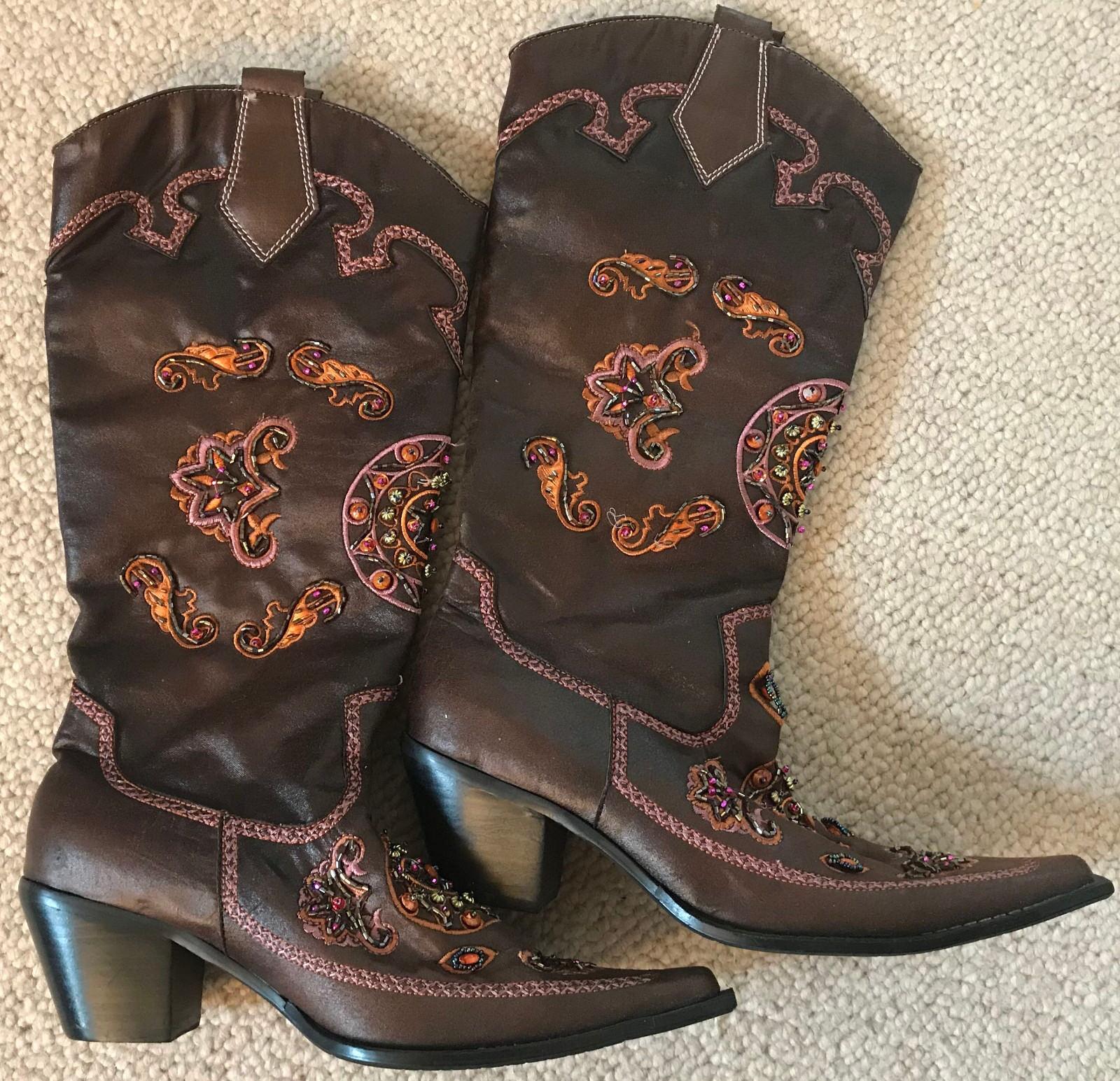 Westernstiefel Cowboystiefel Stiefel Gr 40 Lila-braun ca. 42cm hoch Strass CHIC