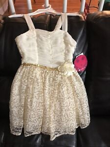 NWT-Girl-039-s-STUNNING-Party-Dress-7-Cream-Gold-Emily-West-Great-4-Spring-Easter