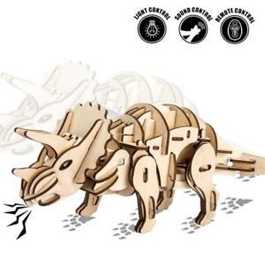 D400 DIY Laser-Cut 3D Wooden Puzzle R//C,Sound Control,Light Control Triceratops