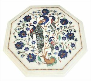 White Marble Coffee Table Top Lapis Peacock Marquetry Floral Inlay Decorate W019