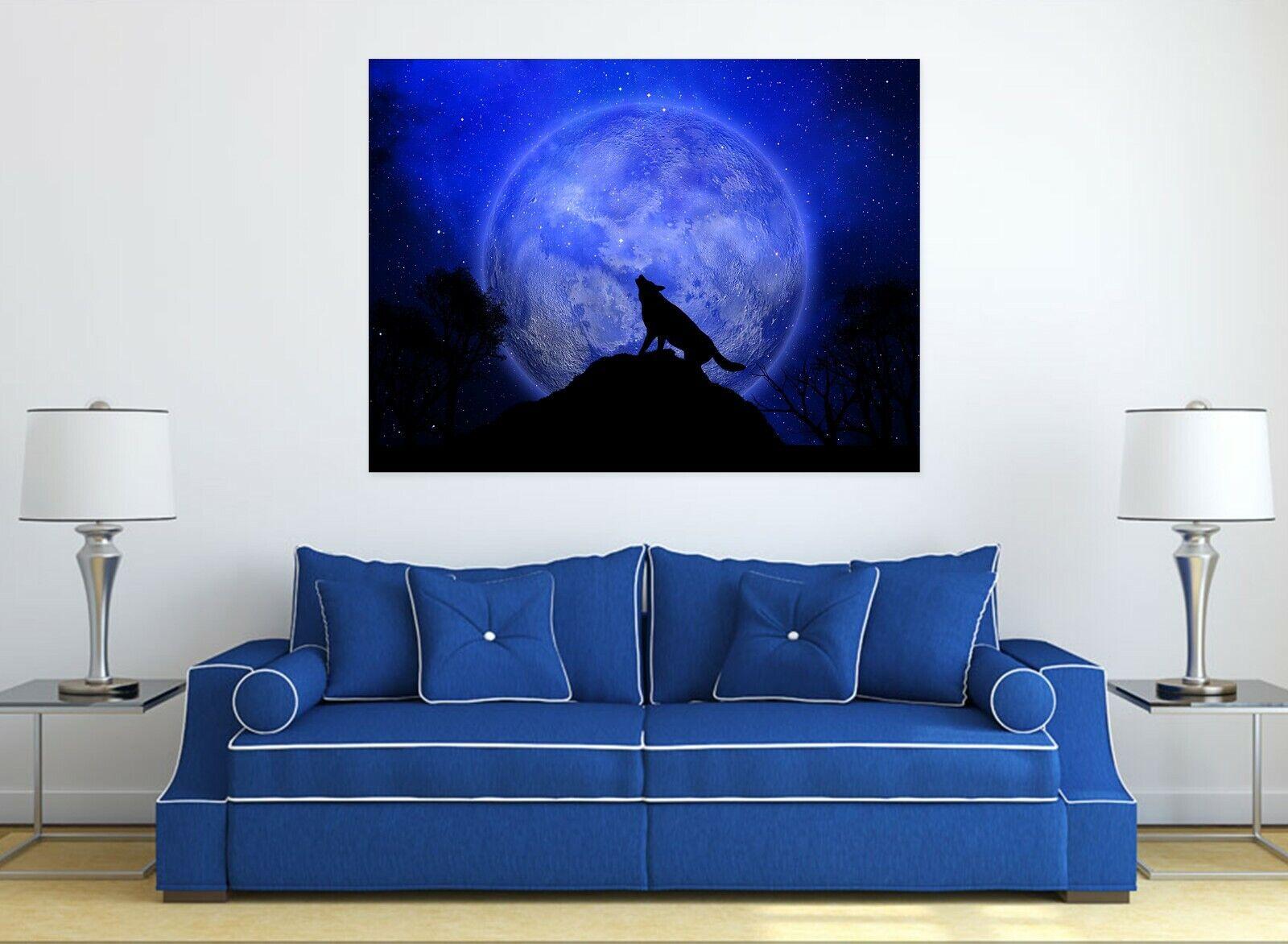 3D Nacht Wolf M68 Tier Wandaufkleber Wandtattoo Tapeten Wandbild Angelia