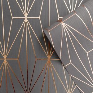 Muriva-Kayla-Papier-Peint-Geometrique-Metallique-703015-Charbon-amp-Dore-Rose