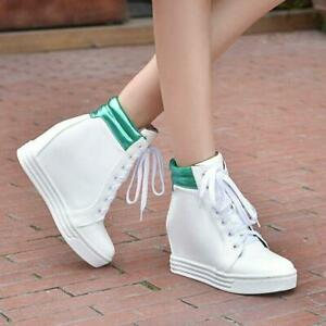 Womens-Hidden-Wedge-Heel-Lace-Up-Sneakers-High-Top-Ankle-Boots-Casual-Shoes-size