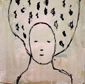 B&W Original Acrylic Portrait Big Hair Woman Painting Katie Jeanne Wood
