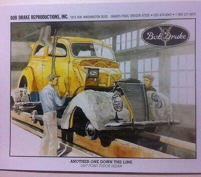 1937 Ford Tudor Sedan Stock Car Illustration 8x10 Reprint Garage Decor