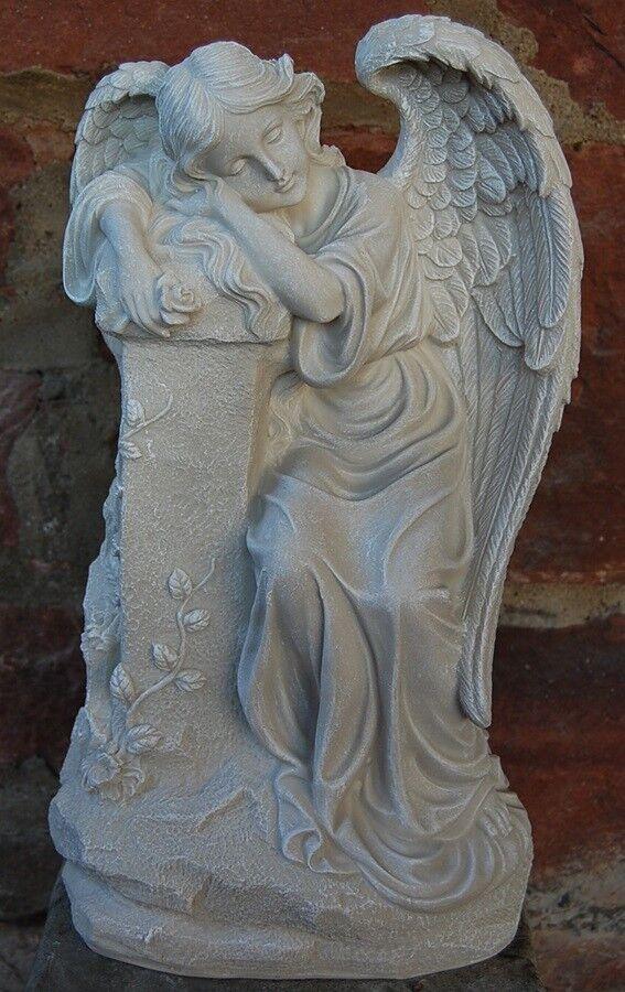 Engel mit Rosan auf Säule Säule Säule lehnend antikweiß  Grab Grabschmuck Neu fd3327