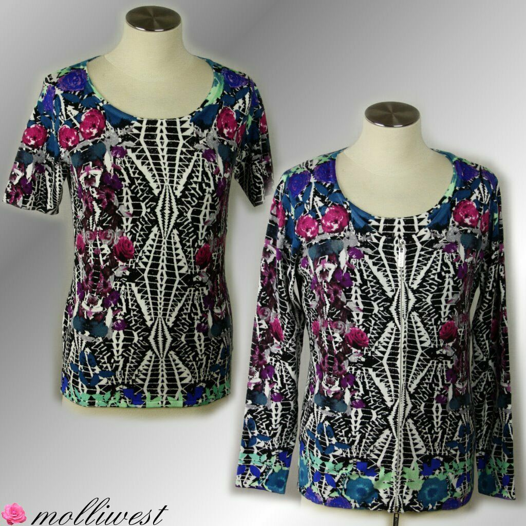 Ladies Twinset Jumper Cardigan Floral Pattern Abstract Viscosity of Imagini