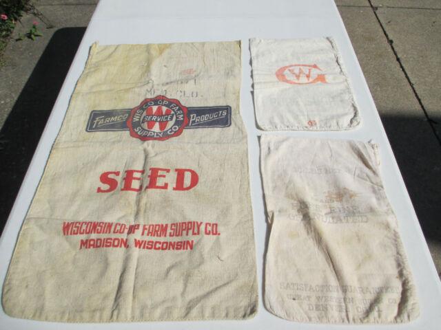 Vintage Cotton Cloth Sacks Western Sugar Farmco Seed Set of 3 Advertising Craft