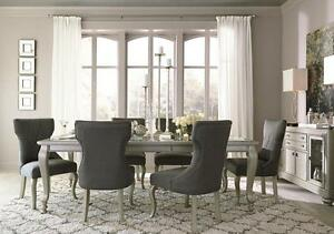 Details about JULIEN - 7pcs Mid Classic Modern Silver Rectangular Dining  Room Table Chairs Set
