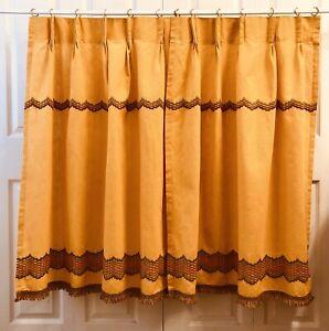1970 S Cafe Curtains Vintage Harvest Gold Perma Press Mcm Kitchen Home Decor Ebay