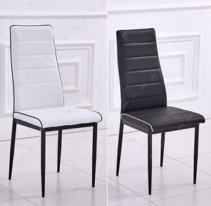 Modern Dining Chair Black/White Contrast Piping Faux ...