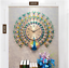 Wall-Clock-Metal-Watch-Home-Modern-Decoration-Peacock-Patterned-Clocks-Accessory miniature 12