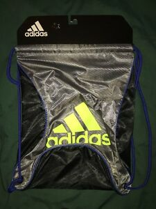 fd1ac3394fa Image is loading ADIDAS-GYM-SACK-BACKPACK-SILVER-BLACK-Neon-Green