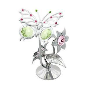 Crystocraft Schmetterling Auf Blumen Hergestellt mit Swarovski Kristallen