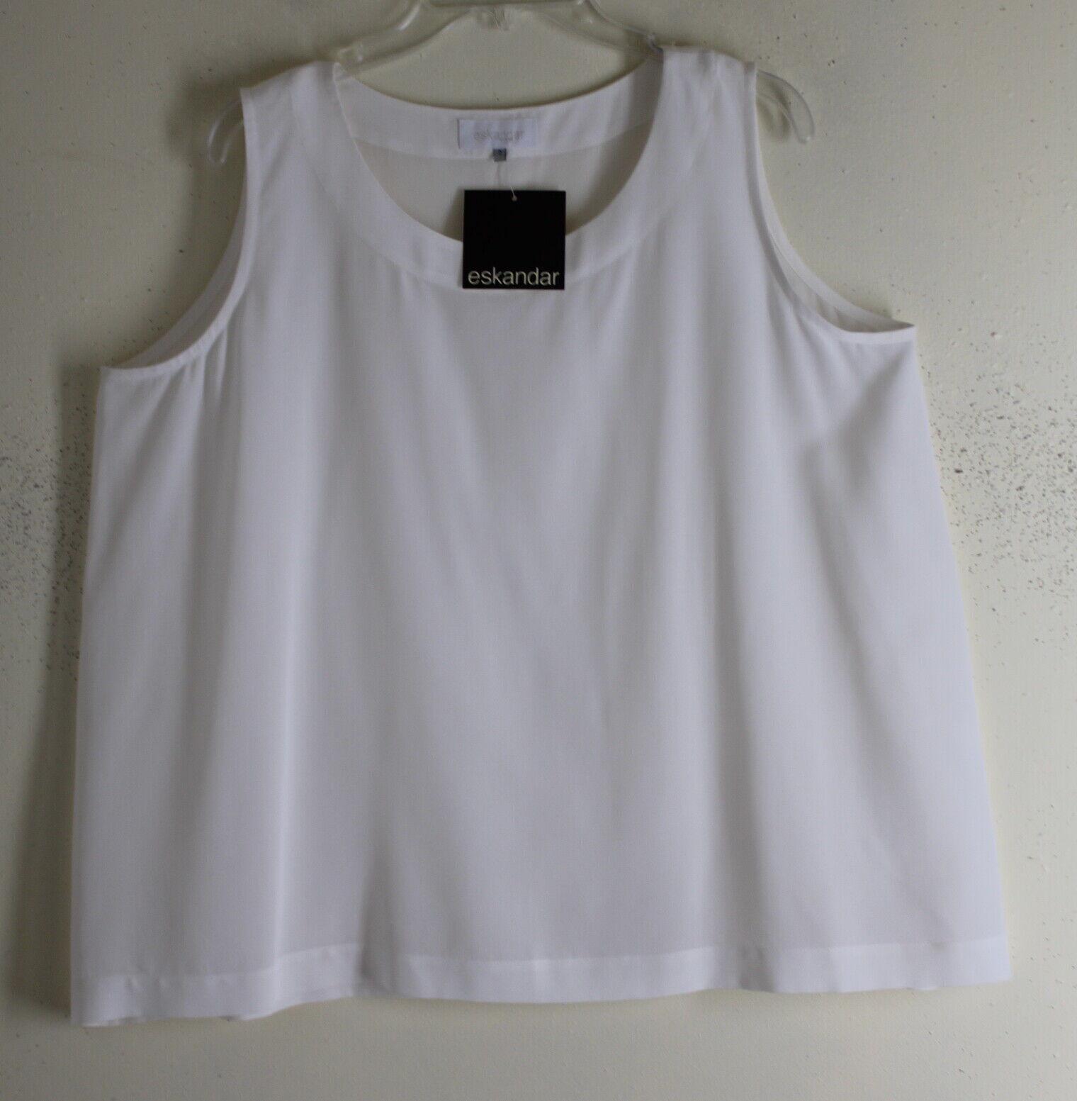 NWT Eskandar Sz 2 CREAMY RICH Weiß A-Line Silk Crepe Rich Fabulous Shell oben
