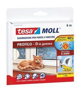 Tesa Moll Guarnizione X Porte E Finestre Profilo D In Gomma 6mt X Spessore 3-7mm Produits De Qualité Selon La Qualité