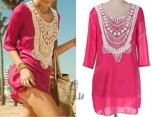 AU-SELLER-Crochet-Lace-Chiffon-Kaftan-Long-Top-Mini-Dress-Beach-Cover-UP-sw051