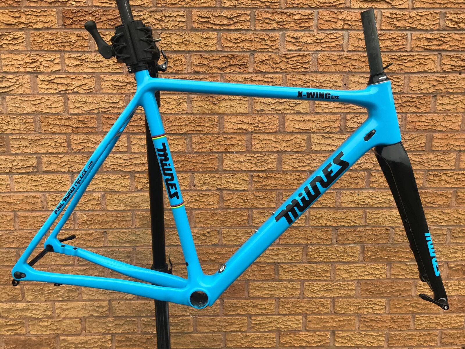 Paul Milnes X-Wing Disc Brake Carbon Cyclocross Bike Frameset - bluee 54cm