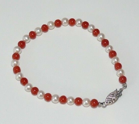 Freshwater White Pearl and Italian Coral Bracelet with 14k White gold Clasp 7
