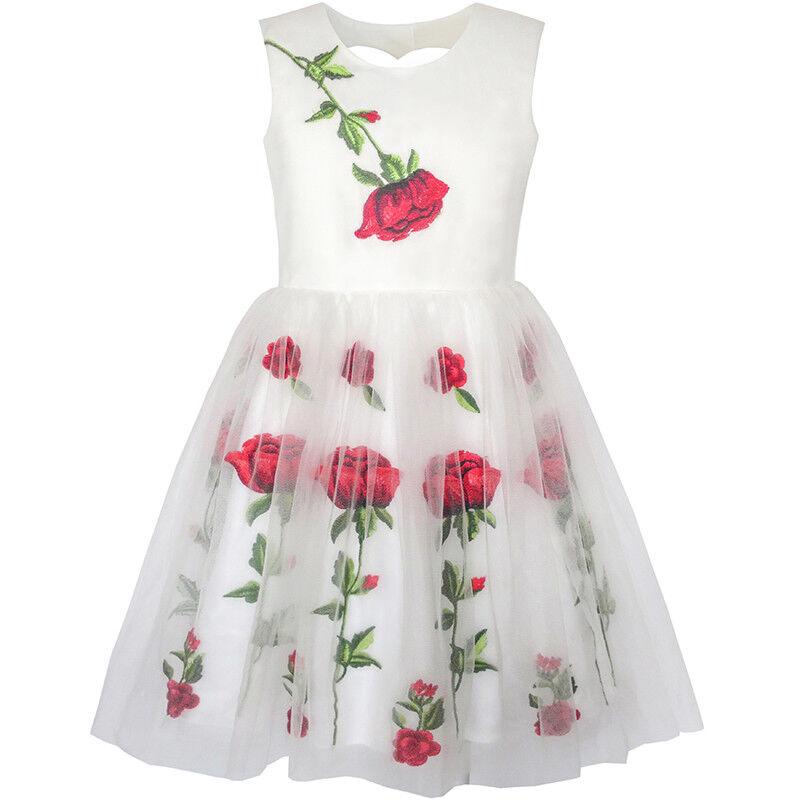 Mädchen Kleid Weiß Rose Blume Stickerei Herz Gestalten Zurück ...