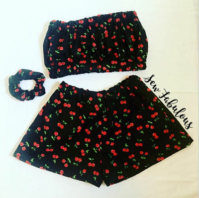 Handmade Women's Outfit Short Clothes New Uk Cherry Bandeau Festival 3 Piece Set
