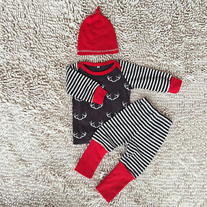 67652e6a72b Newborn Baby Kids Deer Long Sleeve T-Shirt Tops + Pants + Hat 3pcs ...