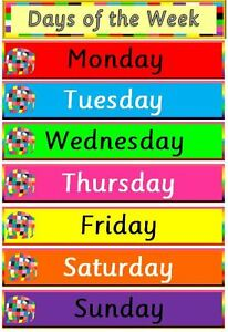 ELMER-Days of the week POSTER- teaching resource -home ...