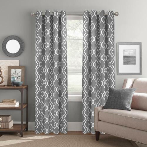 "NEW 2 Pack Room Darkening Curtain Panels in Trellis Grey 52/"" x 84/"""