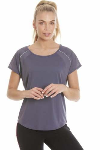 Ex Highstreet Womens Sportswear Dark Grey Short Sleeve Ventilated Sports Top
