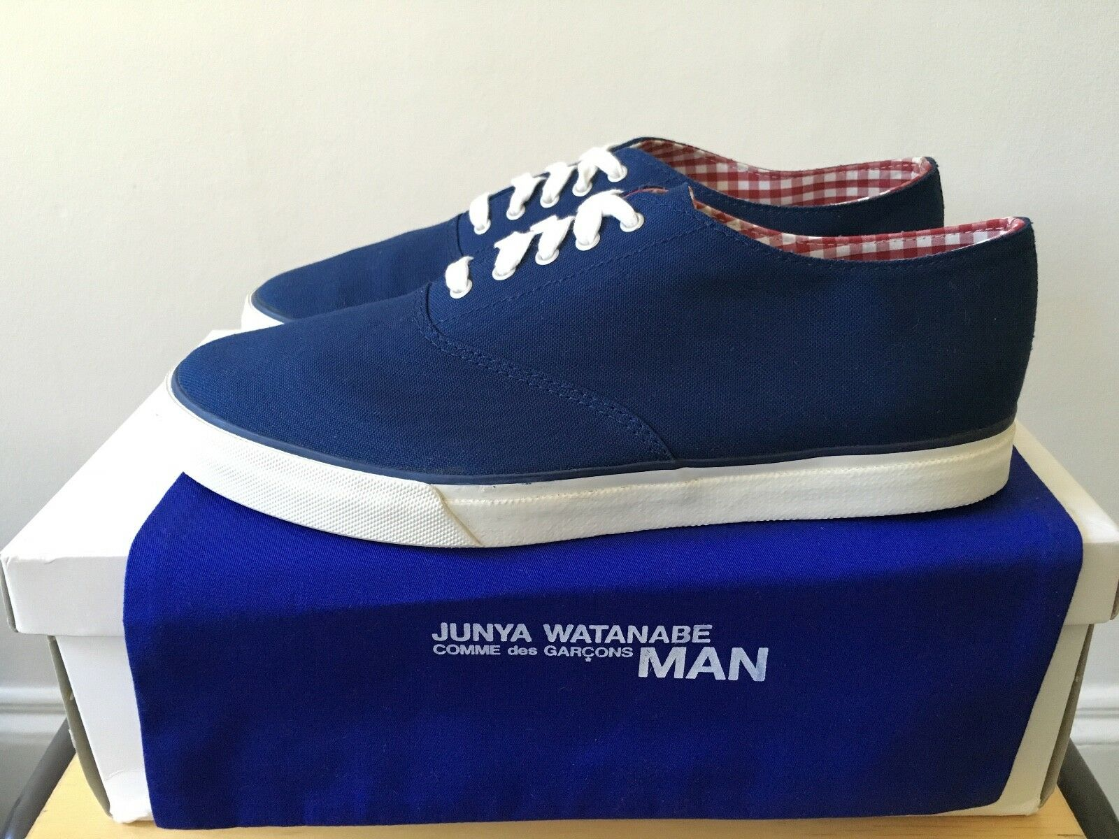 New Navy White JUNYA WATANABE MAN Canvas COMME Sneakers COMME Canvas DES GARCONS Trainers 40 9dbc95