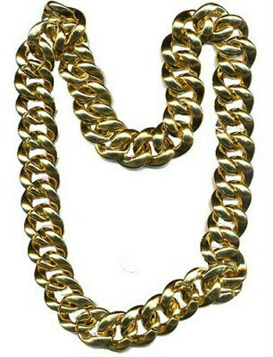 Men/'s Gangster Gold Chunky /& Gold Ring Fancy Dress Chain 80/'s 90/'s Stag Night